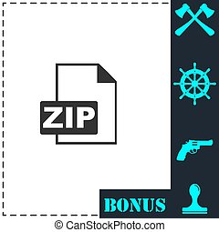 ZIP file icon flat