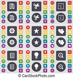 ZIP file, Scissors, Arrow left, Gear, Star, Heart, Calculator, Light bulb, Magnifying glass icon symbol. A large set of flat, colored buttons for your design. Vector