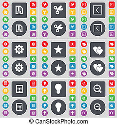 ZIP file, Scissors, Arrow left, Gear, Star, Heart, Calculator, Light bulb, Magnifying glass icon symbol. A large set of flat, colored buttons for your design.