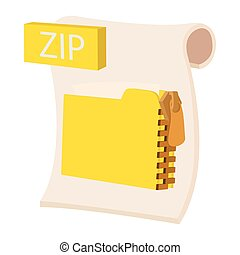 ZIP icon, cartoon style