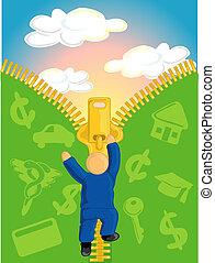 Zip it up - Illustration of a man climbing a zipper escaping...
