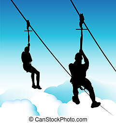 Zip Line Men - An image of zip line men.
