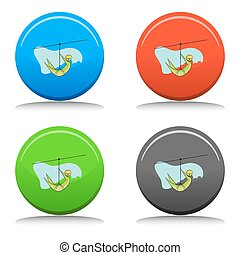 Zip Line Rider Icon Set