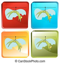 Zip Line Rider Icon Set