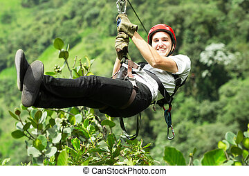 Zip Line Sequence Slide Three - Adult Man On Zip Line Andes...