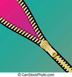 Illustration of open zipper as a background.