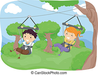 Zipline Kids - Illustration Featuring Kids Sliding Down a...