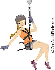 Ziplining Girl - Illustration Featuring a Girl Sliding Down...