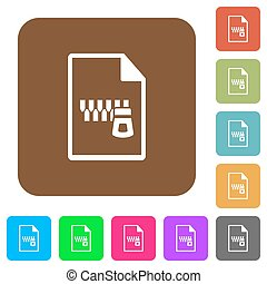 Zipped document rounded square flat icons