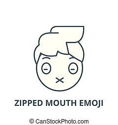 Zipped mouth emoji vector line icon, linear concept, outline sign, symbol