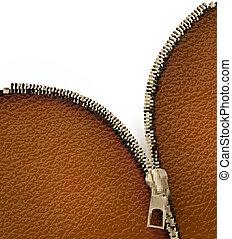 zipper., beschaffenheit, abbildung, hintergrund, brauner, vektor, leder