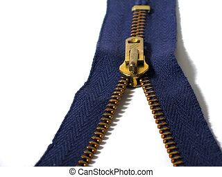 Zipper - Blue zipper, partially unzipped
