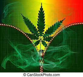 Zipper Cannabis Leaf With Smoke