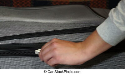 Zipper clasp on a suitcase