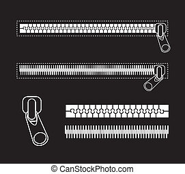 zipper - white zipper isolated over black background. vector...