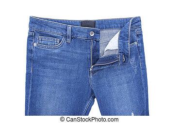 Zipper denim pants.