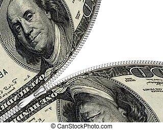 zipper, dollars, samenhangend