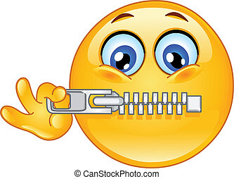 Zipper emoticon - Emoticon zipping his mouth