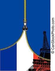 zipper, frankrijk, al-0749, vlag