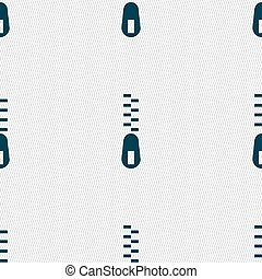 Zipper Icon sign. Seamless pattern with geometric texture. Vector