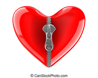 Zipper in heart. Isolated 3D image on white