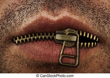 Close up of man's mouth with bronze or gold metal zipper closing lips shut.