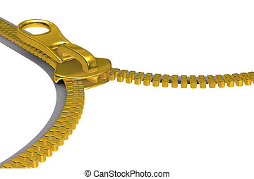 Zipper on white background. Isolated 3D image