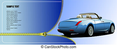 Zipper open bleu cabriolet. Vector illustration