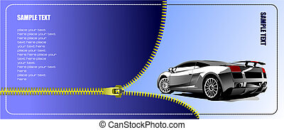 Zipper open concept-car. Vector illustration