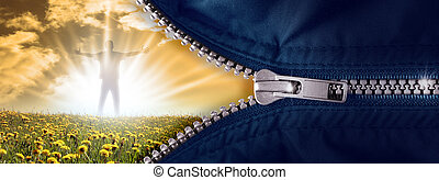 Zipper - opened zipper with the hero in the sun