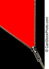 Zipper opening concept on red background