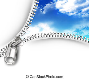 zipper opening the skies on a white background