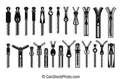 Zipper puller lock icons set, simple style