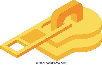 Zipper slider icon, isometric style