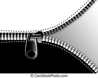 zipper - opening the zipper on the black and white...