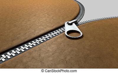 Zipper Three Quarter Perspective - A three quarter...