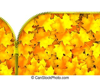 Zipper with Leaves - 3D Illustration Golden Zipper with Red...