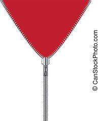 Zipper with red and white background
