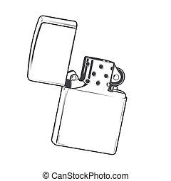 Zippo lighter isolated on a white background. Monochromatic line art. Retro design.