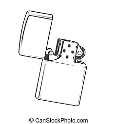 Zippo lighter isolated on a white background. Monochromatic...