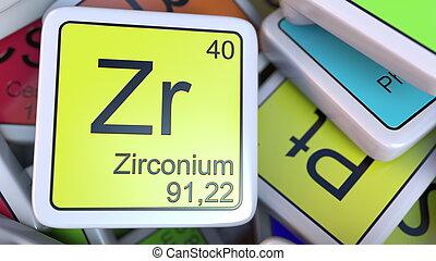 Zirconium form periodic table of elements v2 zirconium clip zirconium zr block on the pile of periodic table of the chemical elements blocks chemistry urtaz Gallery