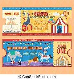 Karten, zirkus, bunte, weisen. Karten, aufschriften,... EPS Vektor ...