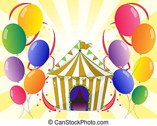 zirkus, luftballone, zentrieren, zelt