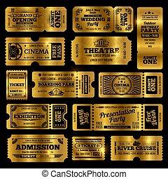 zirkus, party, und, kino, vektor, weinlese, einlaßkarte, templates., goldenes, karten, freigestellt, auf, schwarzer hintergrund