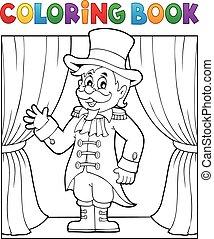 zirkusdirektor, färbung, zirkus, 1, thema, buch