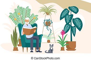 zit, boek, man, lezen, bejaarden, stoel