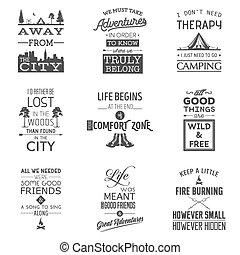 zitate, typographisch, satz, camping, weinlese
