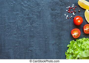zitrone, tomaten, blatt, dunkel, kopfsalat, grüner hintergrund, kirschen, frisch, gewürz