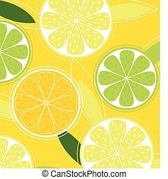 zitrusfrucht, hintergrund, vektor, -, zitrone, limette, und,...
