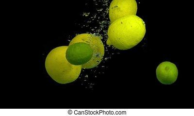 zitrusfrucht, wasser, spritzen, schwarzer hintergrund